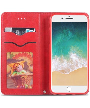 Apple iPhone 6(S) Retro Portemonnee Hoesje Rood Hoesjes
