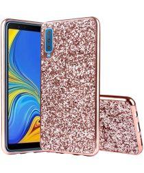 Samsung Galaxy A7 (2018) Hybride Flash Powder Hoesje Roze Goud