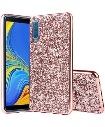 Samsung Galaxy A7 (2018) Hybride Flash Powder Hoesje Roze Goud Hoesjes