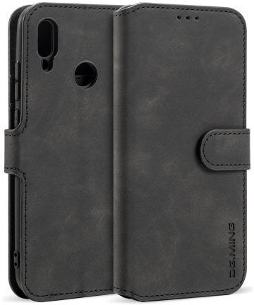 Huawei P Smart (2019) Retro Stijl Wallet Hoesje Zwart Hoesjes