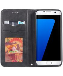 Samsung Galaxy S7 Edge Retro Portemonnee Hoesje Zwart