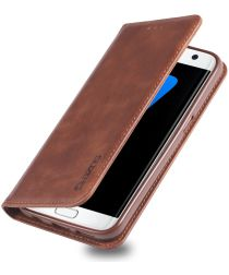 Samsung Galaxy S7 Edge Retro Portemonnee Hoesje Coffee