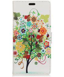Motorola Moto G7 Portemonnee Print Hoesje Flower Tree