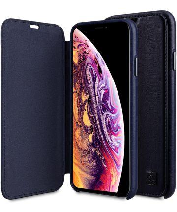 Melkco Origin Apple iPhone XS Max Book Case Echt Leer Blauw Hoesjes