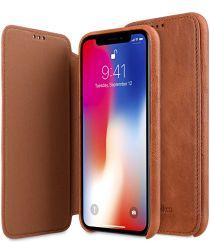 Melkco Elite Apple iPhone XS Book Case Echt Leer Bruin