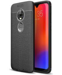 Motorola Moto G7 Hoesje met Kunstleer Coating Zwart