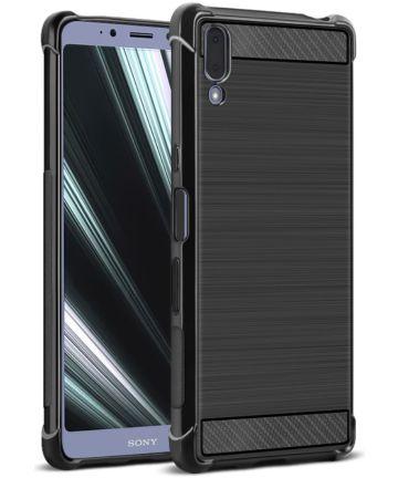 IMAK Vega Series Sony Xperia L3 Hoesje Geborsteld TPU Zwart Hoesjes