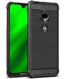 Motorola Moto G7 Geborsteld Carbon TPU Hoesje Zwart