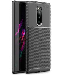 Sony Xperia 1 Siliconen Carbon Hoesje Zwart