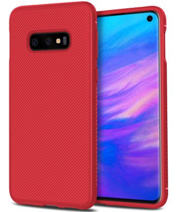 Samsung Galaxy S10E Twill Slim Texture Back Cover Rood Hoesjes