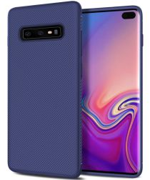 Samsung Galaxy S10 Plus Twill Slim Texture Back Cover Blauw