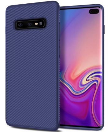 Samsung Galaxy S10 Plus Twill Slim Texture Back Cover Blauw Hoesjes