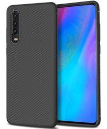 Huawei P30 Twill Slim Texture Back Cover Zwart