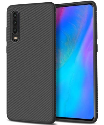 Huawei P30 Twill Slim Texture Back Cover Zwart Hoesjes