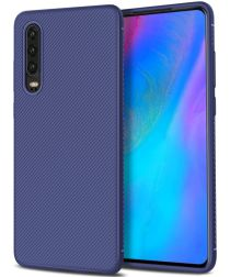 Huawei P30 Twill Slim Texture Back Cover Blauw