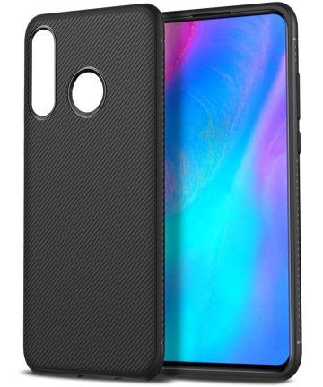 Huawei P30 Lite Twill Slim Texture Back Cover Zwart Hoesjes