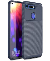 Honor View 20 Siliconen Carbon Hoesje Blauw