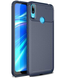 Huawei Y7 (2019) Siliconen Carbon Hoesje Blauw