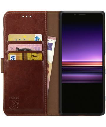Rosso Element Sony Xperia 1 Hoesje Book Cover Bruin Hoesjes