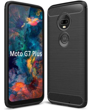 Motorola Moto G7 Plus Geborsteld TPU Hoesje Zwart Hoesjes