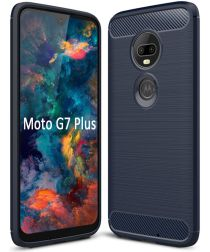Motorola Moto G7 Plus Geborsteld TPU Hoesje Blauw