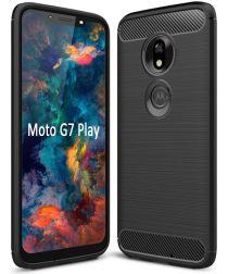 Motorola Moto G7 Play Geborsteld TPU Hoesje Zwart