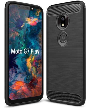 Motorola Moto G7 Play Geborsteld TPU Hoesje Zwart Hoesjes