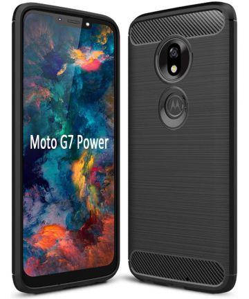 Motorola Moto G7 Power Geborsteld TPU Hoesje Zwart Hoesjes