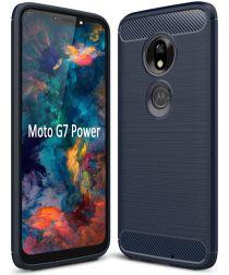 Motorola Moto G7 Power Geborsteld TPU Hoesje Blauw