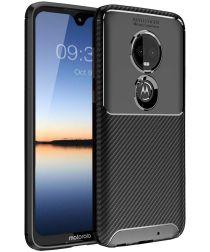 Motorola Moto G7 Plus Siliconen Carbon Hoesje Zwart