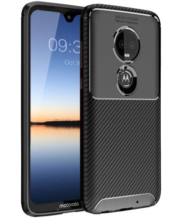 Motorola Moto G7 Plus Siliconen Carbon Hoesje Zwart Hoesjes