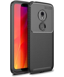 Motorola Moto G7 Play Siliconen Carbon Hoesje Zwart