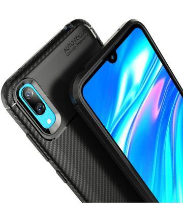 Huawei Y7 (2019) Siliconen Carbon Hoesje Zwart Hoesjes
