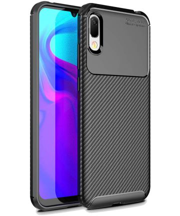 Huawei Y6 (2019) Siliconen Carbon Hoesje Zwart