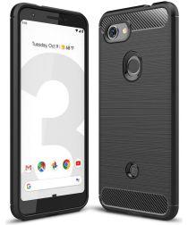 Google Pixel 3A Geborsteld TPU Hoesje Zwart