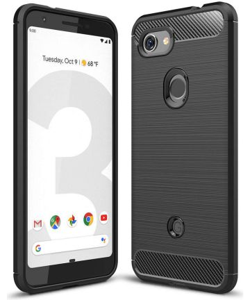 Google Pixel 3A Geborsteld TPU Hoesje Zwart Hoesjes