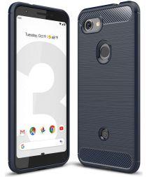 Google Pixel 3A Geborsteld TPU Hoesje Blauw