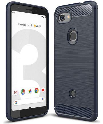 Google Pixel 3A Geborsteld TPU Hoesje Blauw Hoesjes