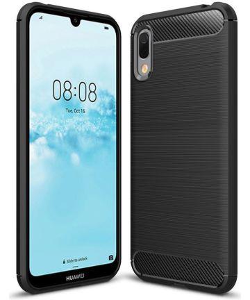 Huawei Y6s / Y6 (2019) Hoesje Geborsteld TPU Zwart Hoesjes