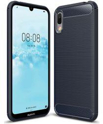 Huawei Y6 (2019) Geborsteld TPU Hoesje Blauw