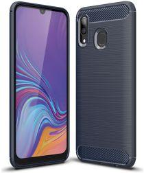 Samsung Galaxy A40 Geborsteld TPU Hoesje Blauw