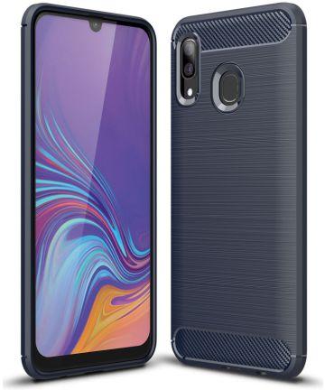 Samsung Galaxy A40 Geborsteld TPU Hoesje Blauw Hoesjes
