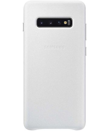Samsung Galaxy S10 Plus Leather Cover Wit