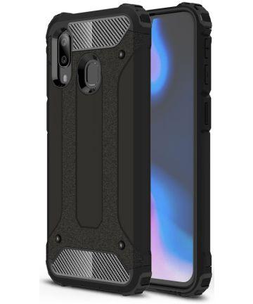Samsung Galaxy A40 Hoesje Shock Proof Hybride Back Cover Zwart Hoesjes
