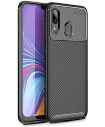 Samsung Galaxy A40 Siliconen Carbon Hoesje Zwart