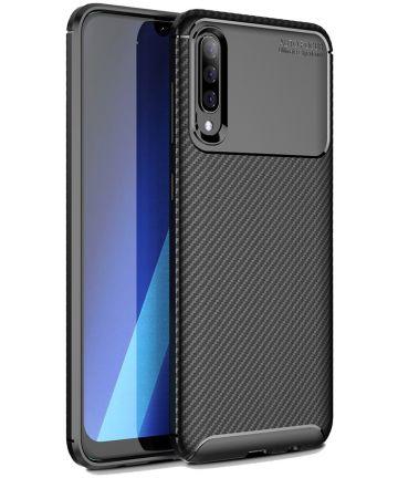 Samsung Galaxy A50 Hoesje Geborsteld Carbon Zwart Hoesjes
