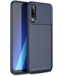 Samsung Galaxy A50 Hoesje Geborsteld Carbon Blauw