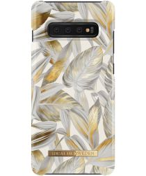 iDeal of Sweden Samsung Galaxy S10 Plus Fashion Hoesje Platinum Leaves