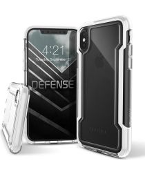 Defense Clear Apple iPhone XS Max Hoesje Transparant/Wit