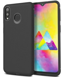 Samsung Galaxy M20 Power Twill Slim Texture Back Cover Zwart